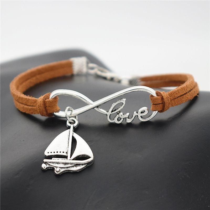 2019 Korean Designer Fashion Brown Leather Suede Accessories Infinity Love Sailing Ship Sail Boat Shaped Amulet Bracelets Bangles Men Women