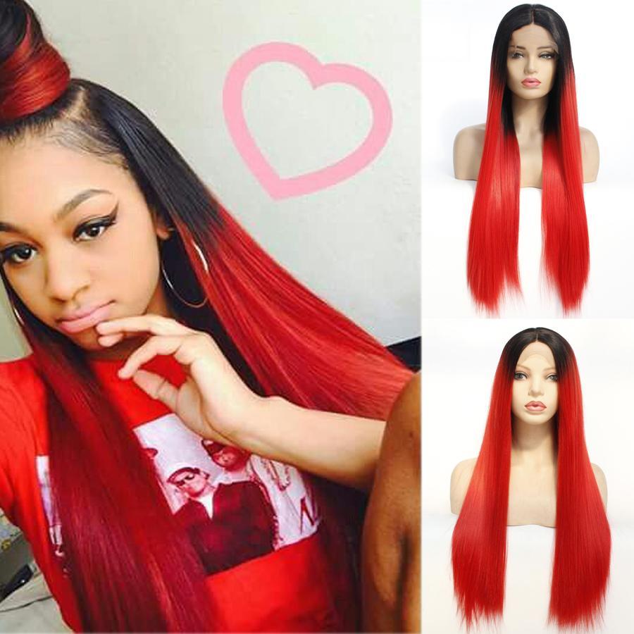 1B / Red Spitze-Front-Perücke Glueless synthetische Spitze Perücken für Schwarz / Weiß Damen Ombre Burgund synthetischen Haar seidigen gerade Perücke Natürlicher Haarstrich