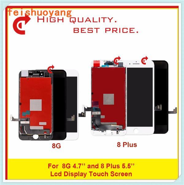 آيفون 8 8 زائد لوحات شاشة LCD درجة A +++ العرض LCD اختبار شاشة اللمس جيد العمل استبدال محول الأرقام الجمعية شحن مجاني