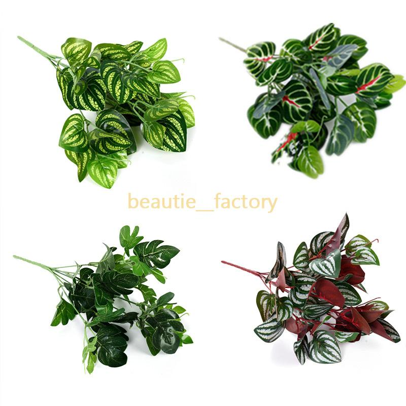 2020 Artificial Leaf Plant Wall Decor Green Grass Hanging Plastic Leaves Office Home Party Garden Wedding Decoration 9 Style From Beautie Factory 1 29 Dhgate Com