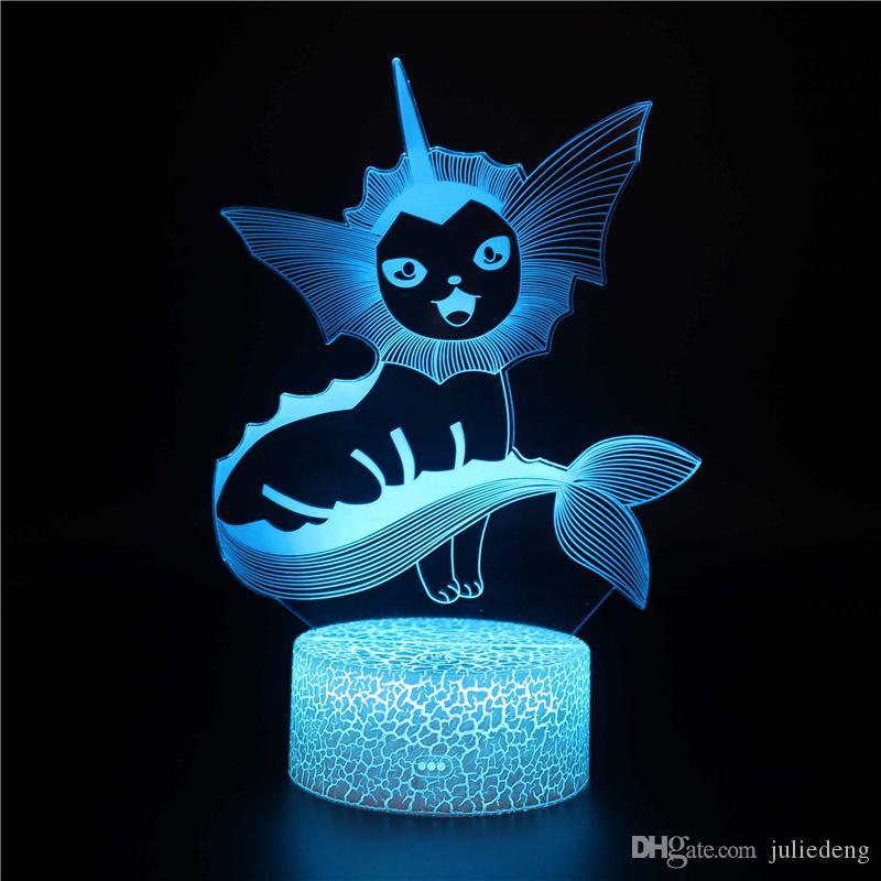 Vaporeon Night Light - Trois Lampe Illusion 3D Motif et 7 Changement de couleur Pika LED Veilleuse avec télécommande pour les cadeaux d'enfants pour les garçons
