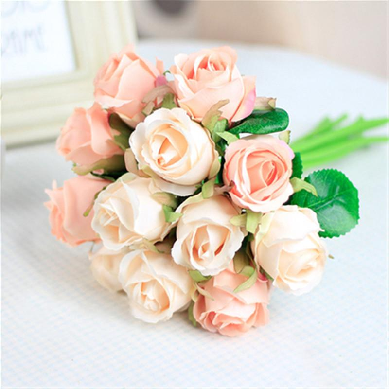 7/8/9/12pcs/lot Artificial Rose Flowers Wedding bouquet New Year Pink Royal Rose Silk flower Home Decoration Wedding Party Decor D19011101