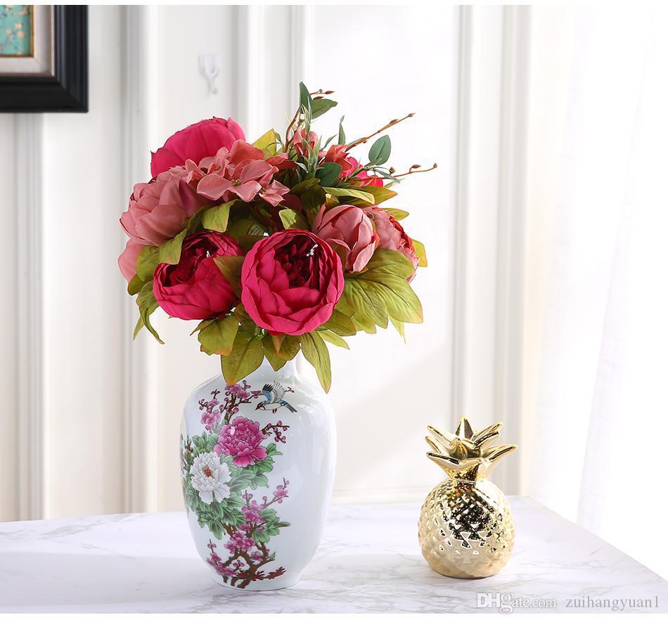 yapay çiçekler Düğün Vintage Avrupa Şakayık Çelenk İpek Sahte Çiçekler Kafalar Ev Festivali Dekorasyon 13 Dallar ev