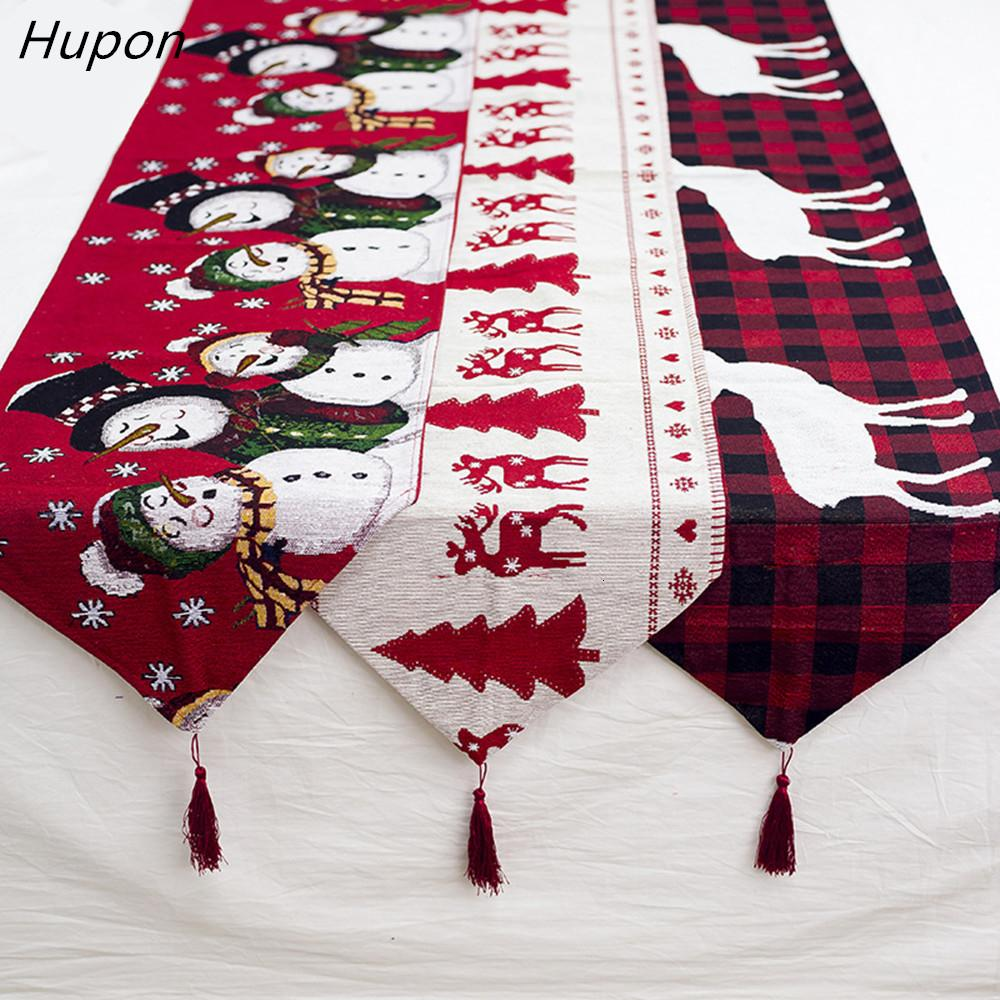 Cotton Embroidered Christmas Table Runners 180*35cm Deer Christmas Tree Table Runner Cloth Cover for Home New Year Decoration SH190920