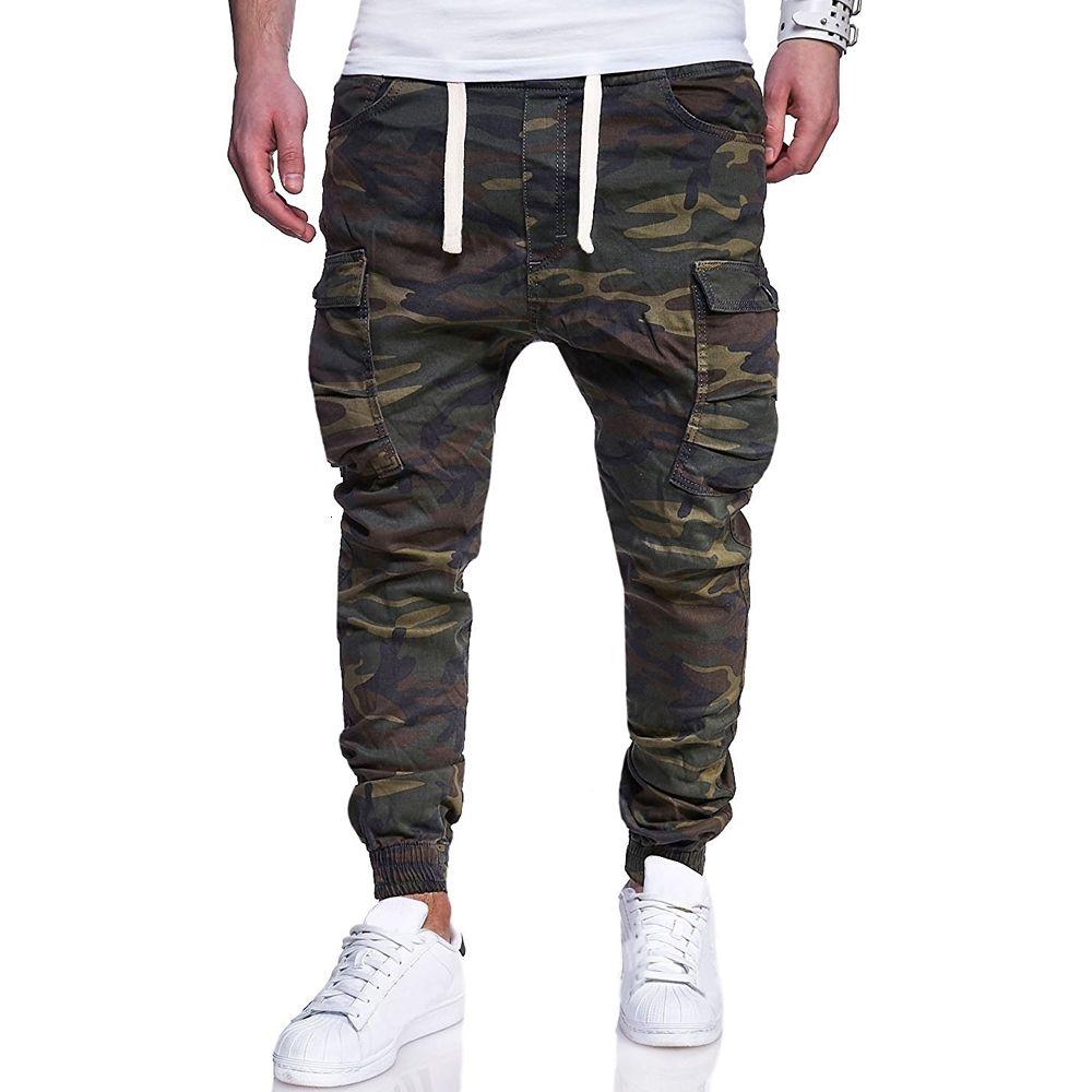 Loldeal Mens sarga Chinos Pantalones Harem estiramiento del ajustado de camuflaje Impreso lazo de la correa pantalones casuales V191108