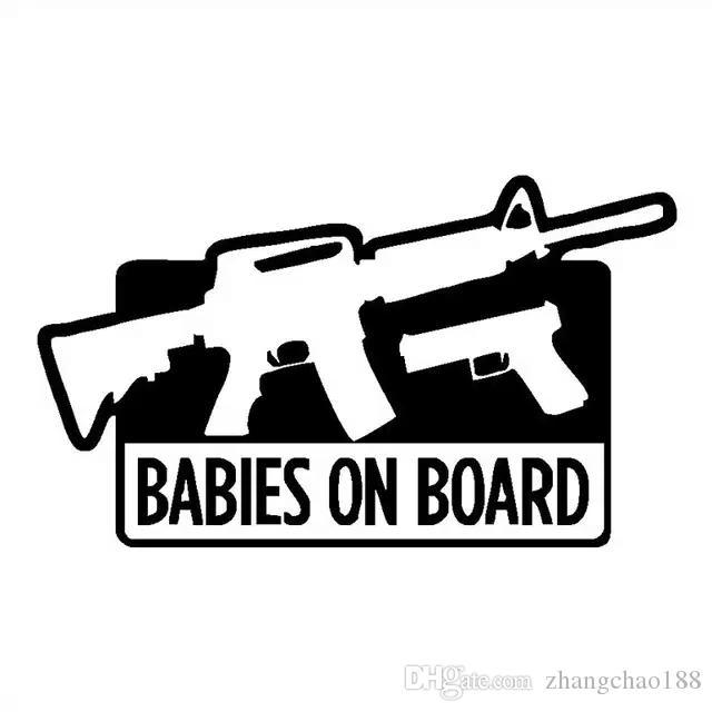 17.8 * 9.7cm bebés a bordo favorable arma divertido vinilo de la etiqueta engomada del coche Negro / Plata CA-1252