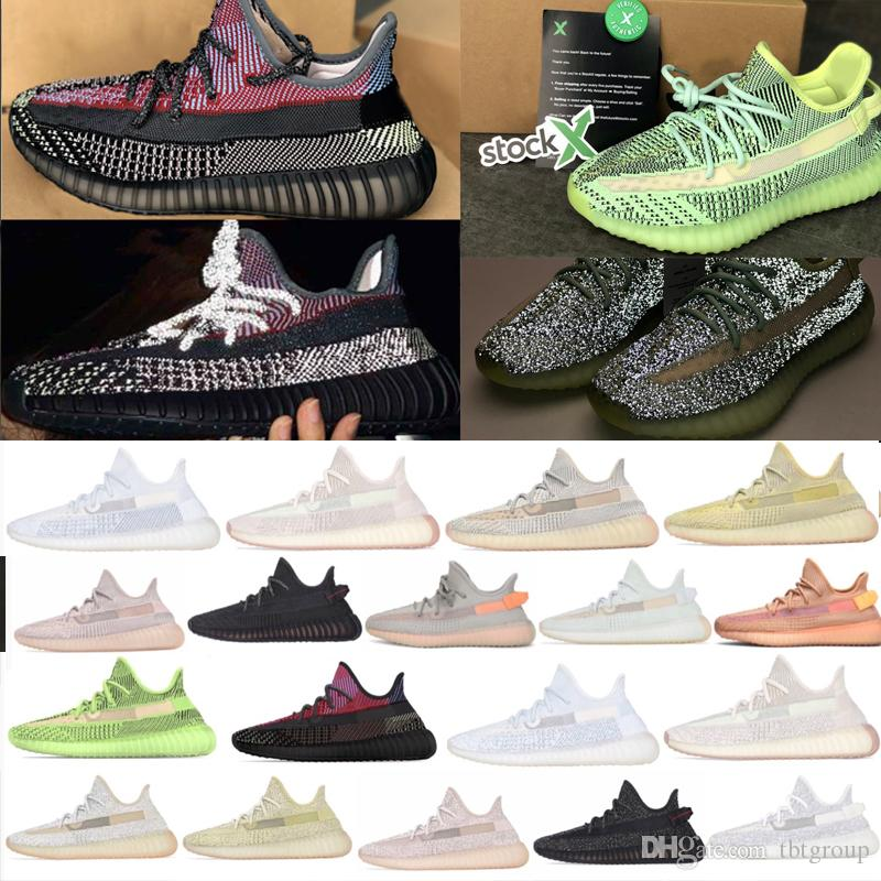 kanye west Sneakers Training Shoes mulheres e homens Running Shoes Terra Yeezreel Reflective Butter Sesame congelados triplos Esporte sapatos brancos
