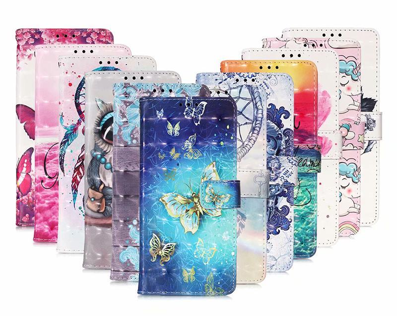 Búho de la historieta cráneo sueño del unicornio flor caja de la carpeta de cuero para Samsung A21S A51 A715G Huawei Y5P Y6P P inteligente 2020 NOVA 7pro 5G p40liteE