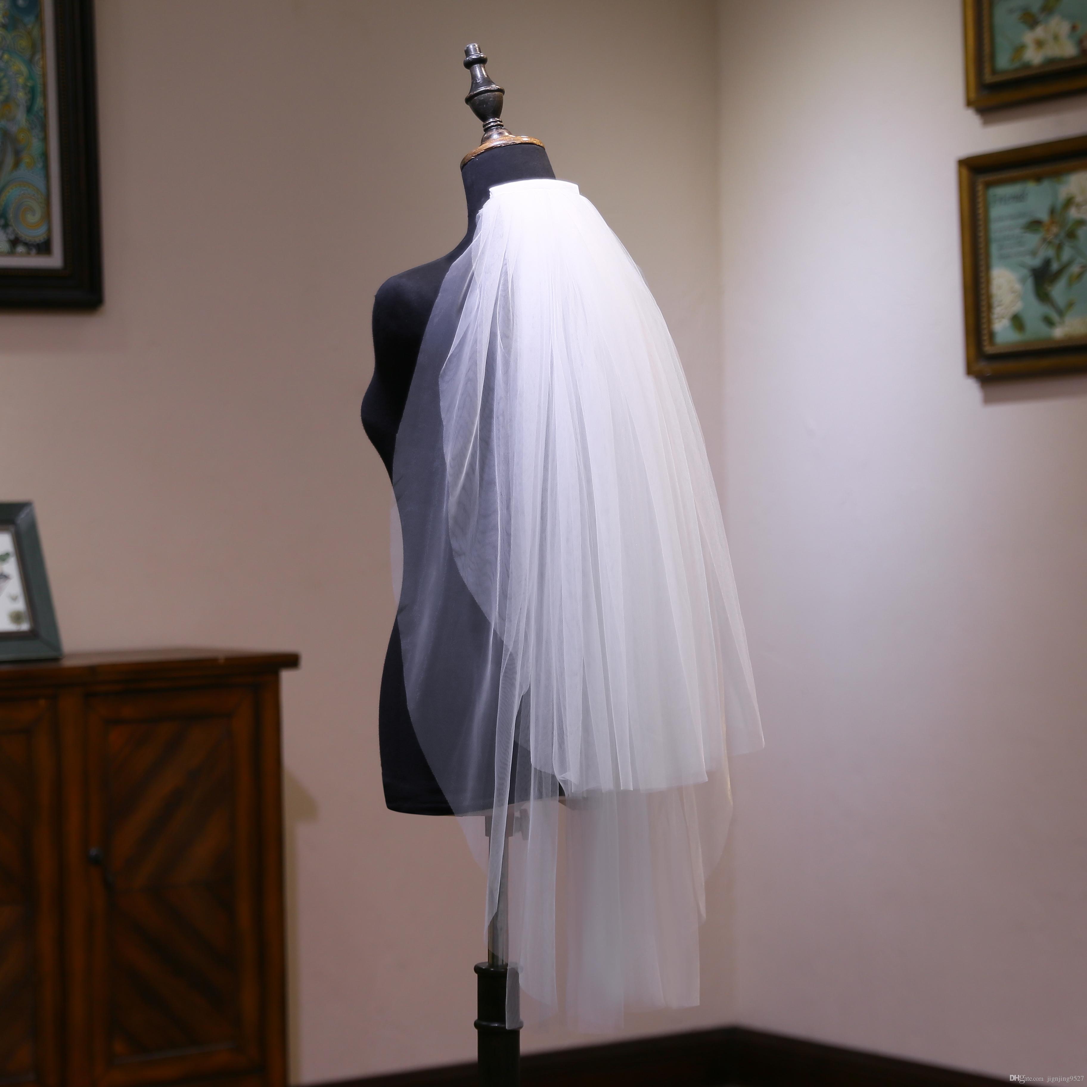 Bord perlé blanc perles de mode Voiles de mariée avec court haute qualité W20140026 vente chaude nouvelle arrivée