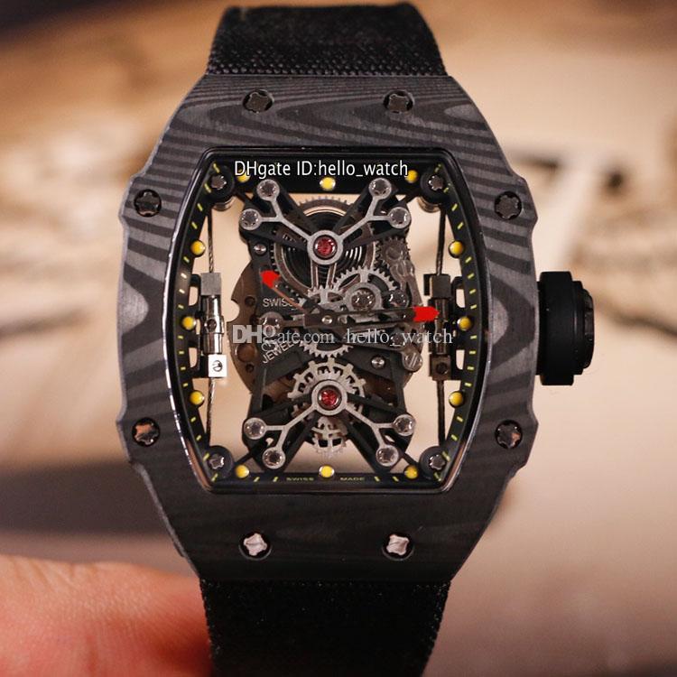 Limited New Black Curble Fibre Case RM27-01 Дизайн скелет Miyota Автоматическая 27-01 Мужские Часы Все Черные Нейлоновые Спортивные Часы Hello_Watch