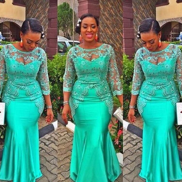 Turchese sirena dei vestiti da sera africani 2020 nuova di vendita calda di lunghezza del pavimento Beads personalizzato 3/4 maniche lunghe in pizzo partito convenzionale promenade E262