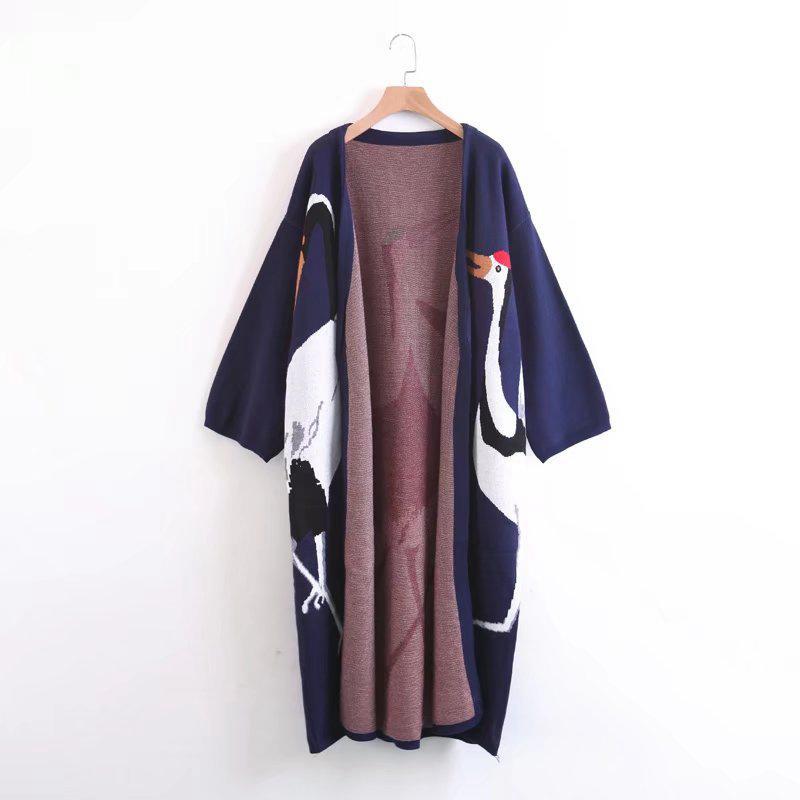 TWOTWINSTYLE Cicogna Female Cardigan per l'inverno Jumper cappotto da donna femminile Kimono vintage lavorato a maglia di trincea lungo Windbreaker Y200116