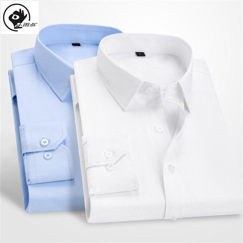 Vestido manga comprida Básico shirt os homenzinhos Raindrop Male Business Standard-fit Formal Botão acima do Trabalho de escritório sarja fina shirt