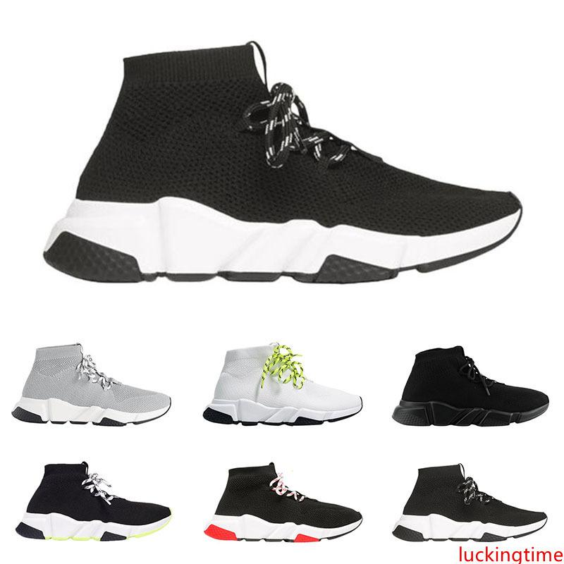 2019 men women designer socks shoes speed trainer lace up mid top black white yellow fashion mens trainers casual platform sneakers