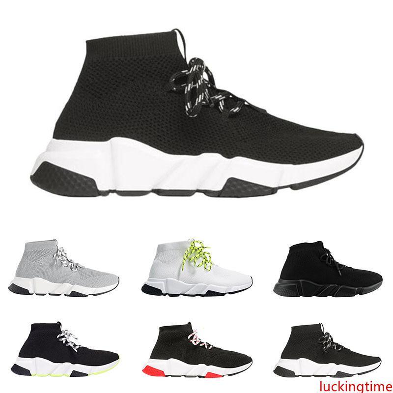 2019 uomini donne progettista calzini scarpe Speed Trainer lace up metà top nero bianco mens giallo formatori casuali sneakers piattaforma