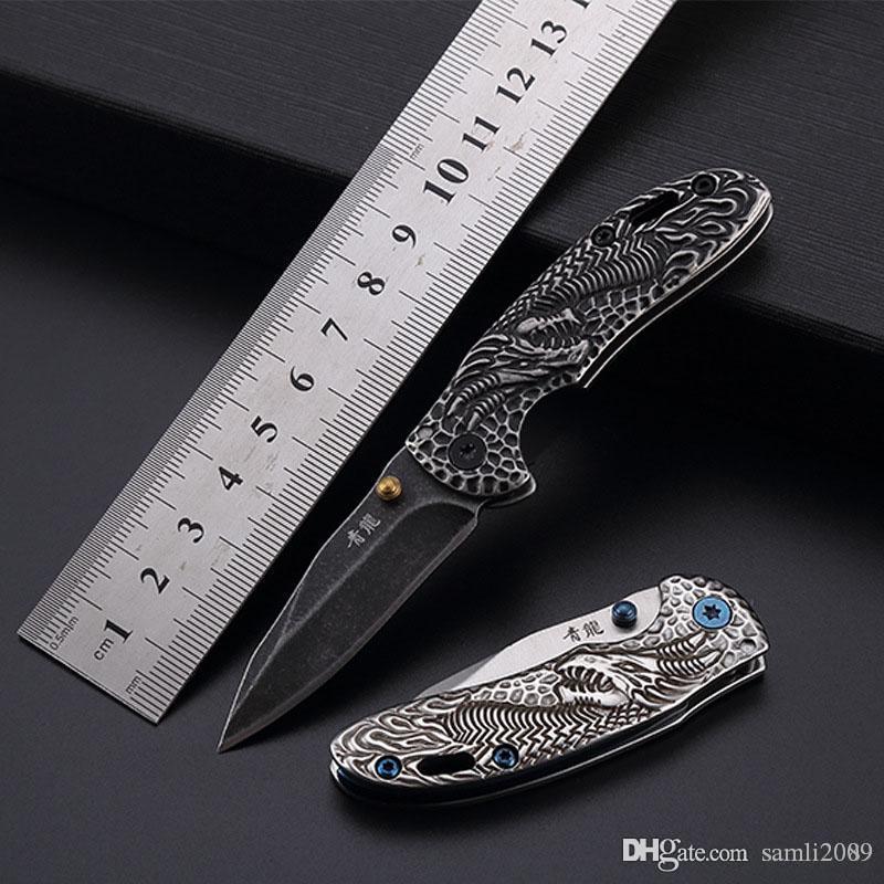 Nova venda quente ao ar livre dobrar dom faca de bolso faca Preto Dragon Blade coleção 440C ferramentas EDC frete grátis atacado ferramenta de acampamento preço