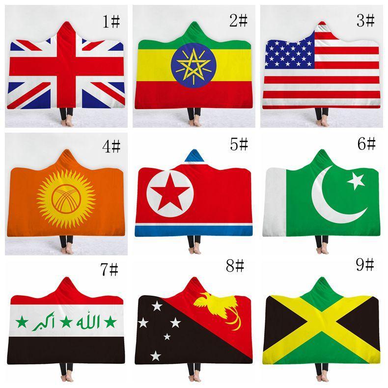 الأطفال العلم الوطني مقنع بطانية الشتاء الدافئة سميكة المنزل للسفر طائرة استخدام كسلان البطانيات هود Sherp غطاء 130CM * 150CM DH0343