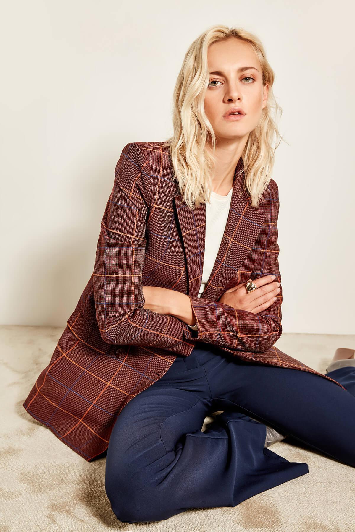 Trendyol Borgogna Plaid Jacket TOFAW19AA0148