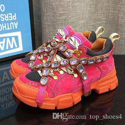 Plus récent concepteur FlashTrek Sneaker avec cristaux amovibles Chaussures Hommes Designer Casual Luxury Fashion Designer Luxe Womens sneakers 10
