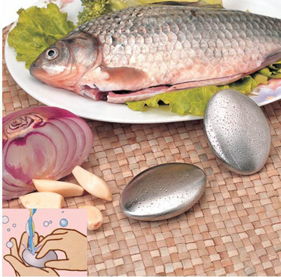 Oval Şekil Paslanmaz Çelik Sabun Magic ortadan kaldırmak Koku Koku Temizleme Mutfak Bar El Chef Koku Giderici RRA2075