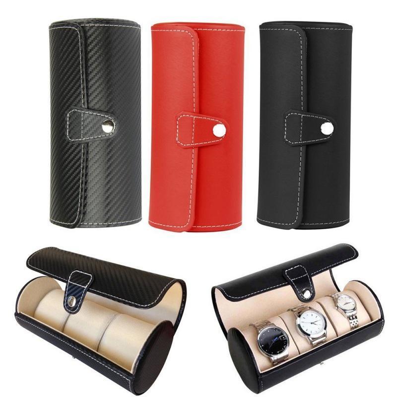 El reloj de lujo de pantalla caja de regalo caja de rollo 3 Ranura de joyería de la pulsera del collar del reloj de cuero de la PU caja de almacenamiento de la bolsa del recorrido