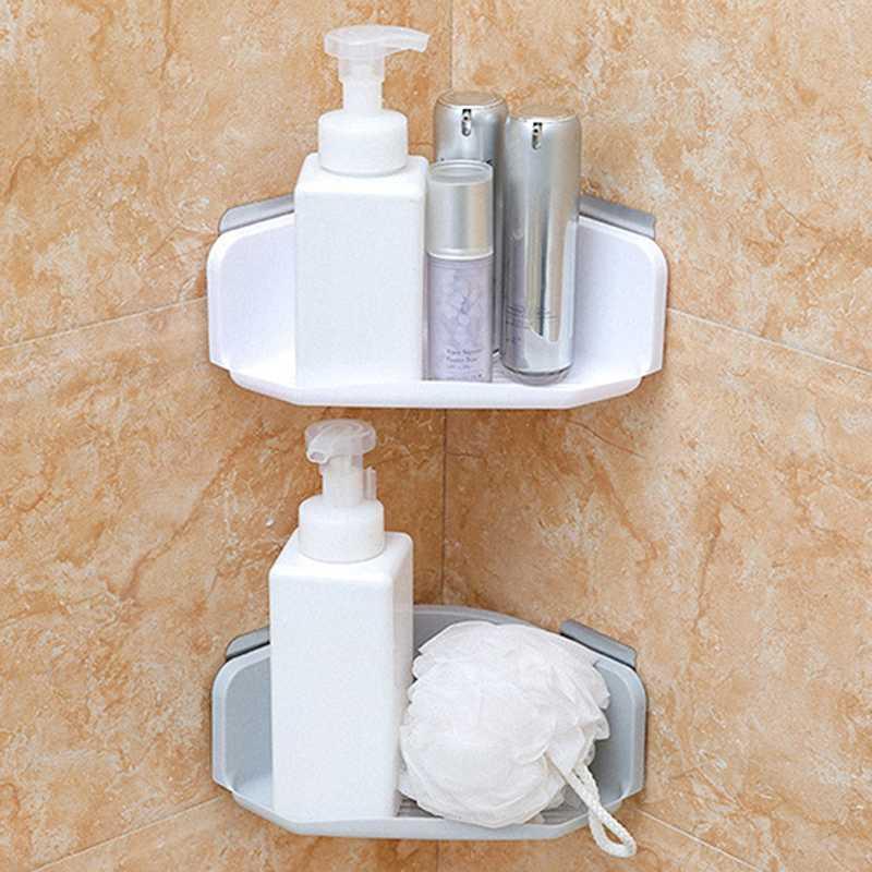 Traceless Triângulo Prateleiras do banheiro canto chuveiro Shelf Shampoo rack de armazenamento de Banho Basket Titular Organizador Duche Prateleira
