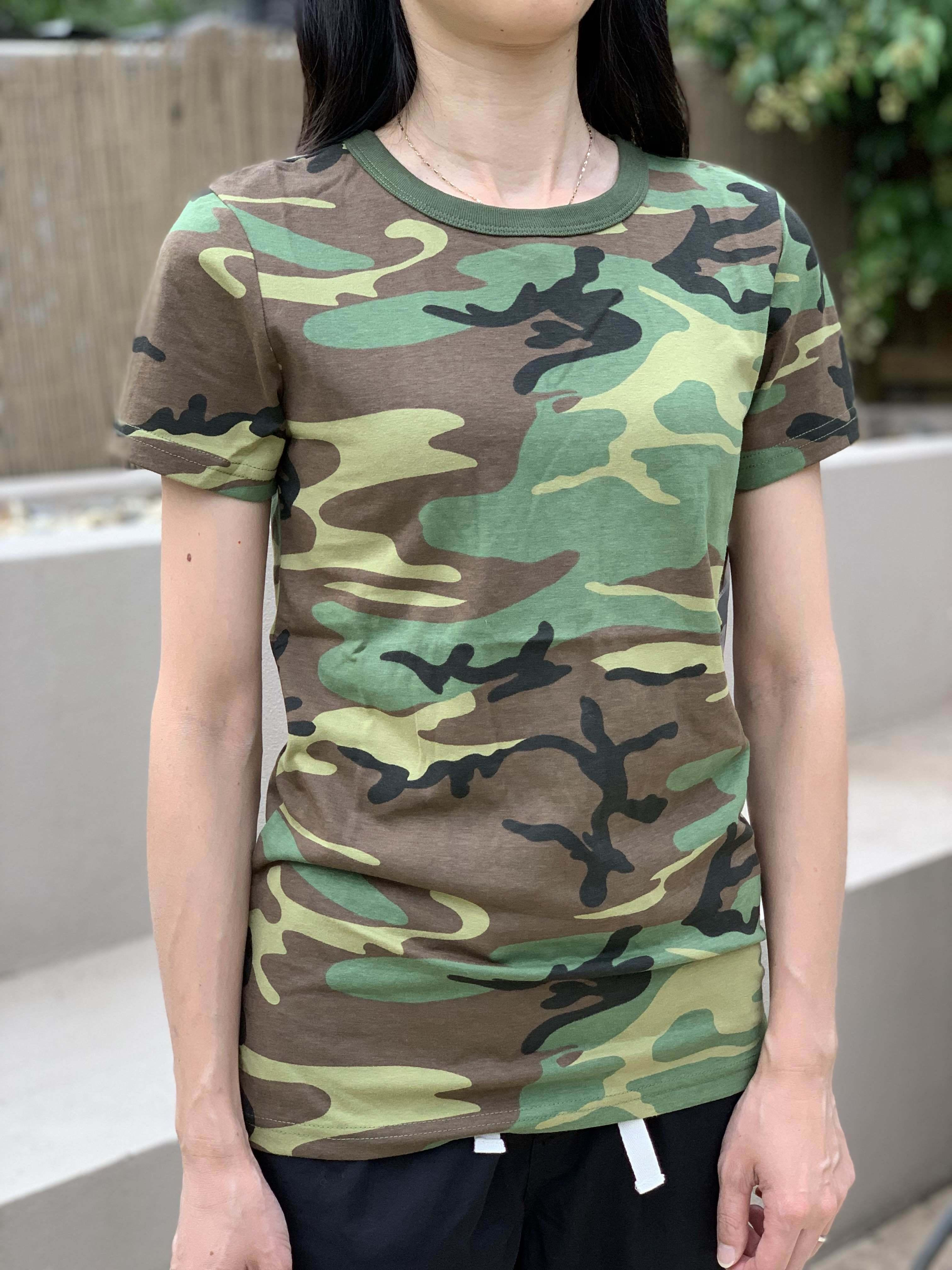 Womens Ladies Army Style Gym Training Running Boot Camp Camo T-Shirt Top Tee Y200412