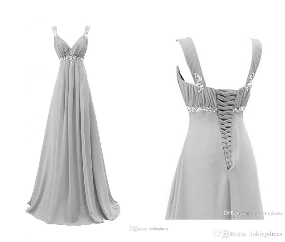 2020 Newest Gray V Neck Long Chiffon Pageant Evening Dresses Women's Fashion Bridal Gown Special Occasion Prom Bridesmaid Party Dress