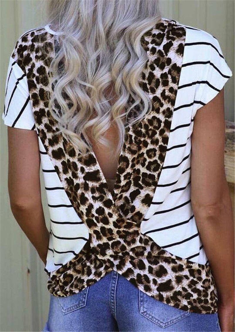 Donna Camicie donna Abbigliamento Moda Donna Tees 2019 estate femmina di leopardo camicia aperta indietro T New elegante SUPERA IL T Shirt con scollo a V