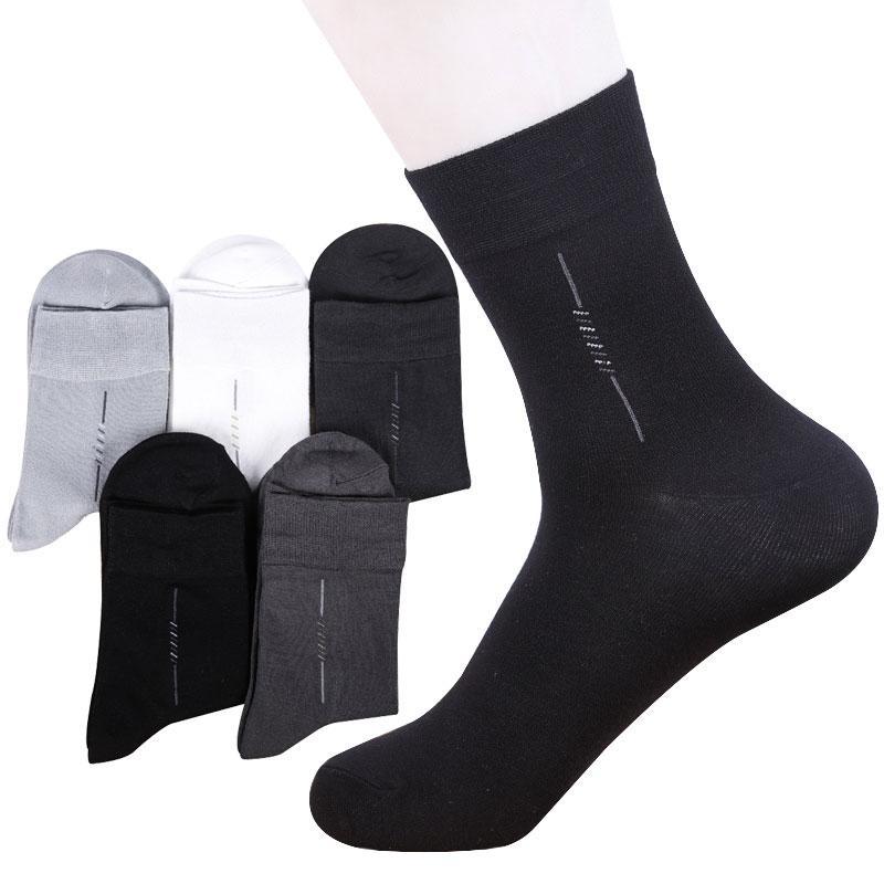 5 pares de alta qualidade casuais dos homens de negócios meias de homens Cotton Marca Grupo Outono Inverno branco preto Meias Meias Sox Calcetines