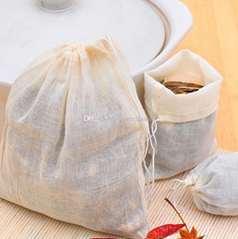 Jugo de Alimentos 500pcs NUEVO muselina de algodón con cordón Tamiz del té de especias fruta bolsa de filtro separado para beber té Herramientas
