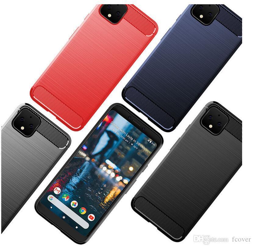 لجوجل بكسل 4A 5G / جوجل بكسل 3 3A 4 XL لينة حالة من ألياف الكربون TPU جل الجلد المطاط السيليكون جوجل بكسل 5 غطاء الهاتف