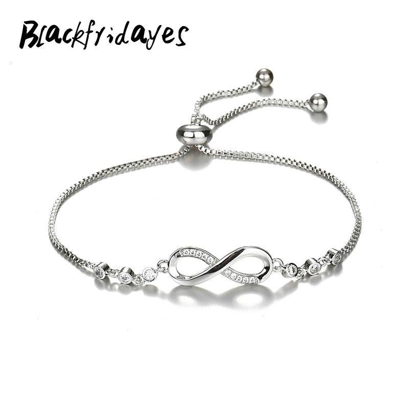 2019 nuovo braccialetto di cristallo di lusso di colore argento Infinity regolabile braccialetti di fascino per il braccialetto dei monili delle donne di moda