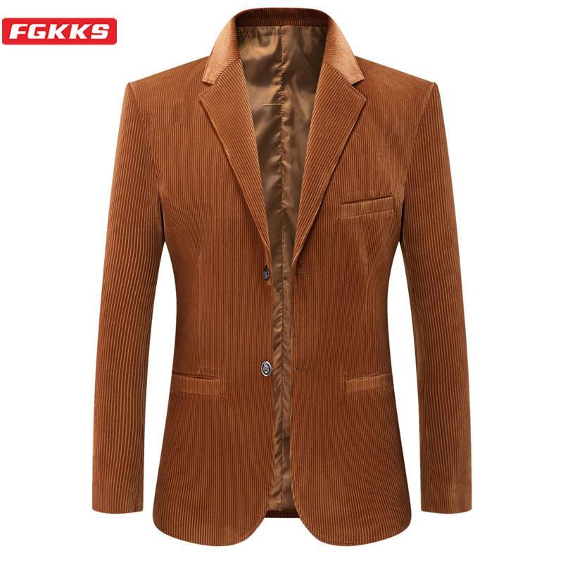 FGKKS Марка Мужчины моды блейзеры новый мужской Бизнес Повседневный костюм куртка весна осень Новый Slim Fit Вельвет Пиджаки Мужской