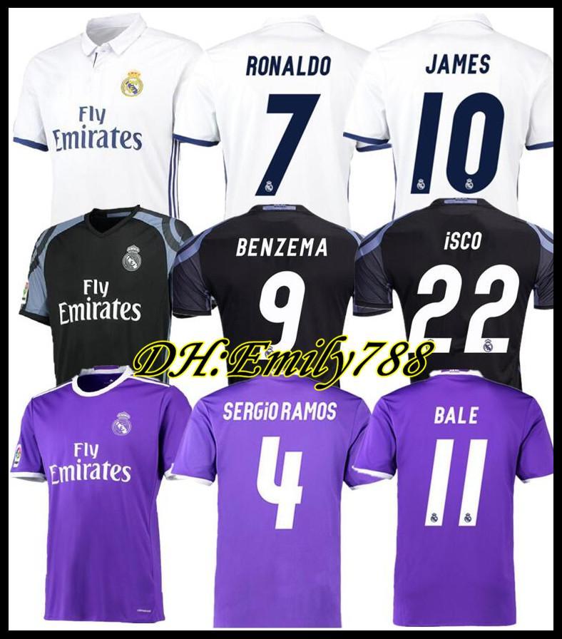 2016 2017 verdadeira camisa de futebol Madrid camisa de futebol Retro RONALDO BENZEMA 14 15 16 17 18 JAMES Camiseta de fútbol SERGIO RAMOS BALE Maillot