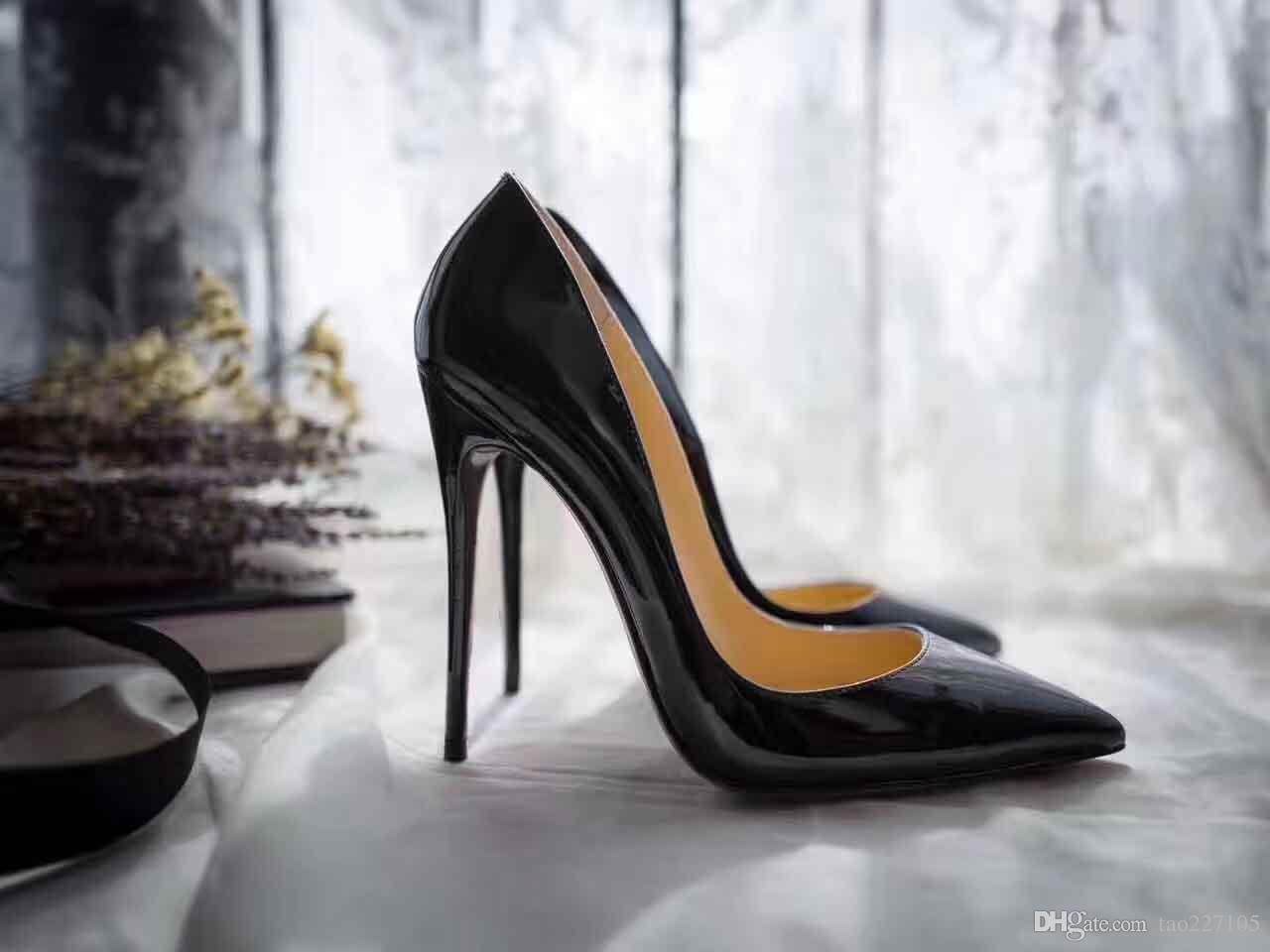 Semelle rouge talons hauts femme chaussures en cuir véritable bureau rouge bas chaussures de bouche peu profonde bout pointu en cuir verni parti chaussures de mariage