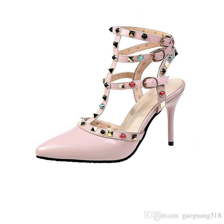 2019 замшевые босоножки на высоком каблуке с остроконечными заклепками Liuding на шпильках baotou с мелким ртом модные красные одиночные туфли