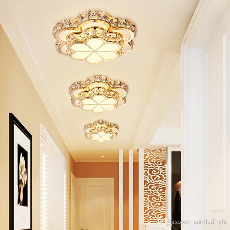 Crystal Porch Lamp 110V LED Ceiling Lights Mordern Round Flower Corridor Room Balcony Chandeliers