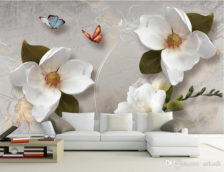 تخصيص صور خلفيات 3d الأوروبي الرجعية الأبيض زهرة جدارية 3d الإغاثة غير المنسوجة نوم جدار جدارية ديكور المنزل خلفيات 3d