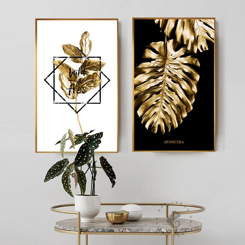 Black and Gold Ananas Monstera pianta dipinto Largo Foglia poster Stampa Wall Art Per Soggiorno navata unica Modern Decoration