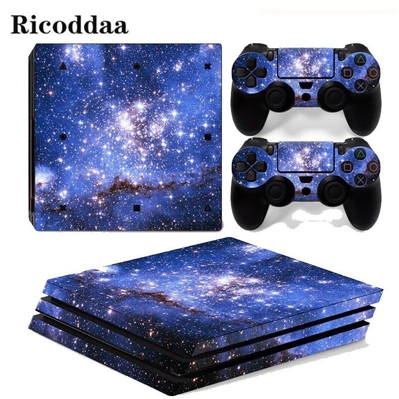Sky estrelas para Ps4 Pro adesivo cobrir Enrole Console 2pcs pele Controlador Decal Para Sony Playstation 4 Pro Game Acessórios T6190615