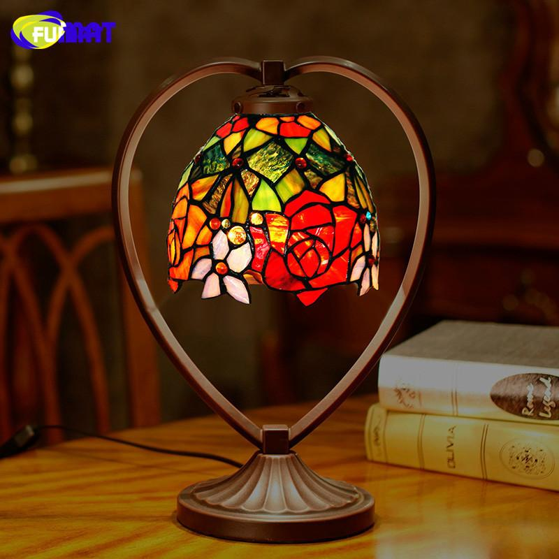 FUMAT Tiffany Table Lamp Rose Dragonfly Stained Glass Shade Desk Light Home Art Deco mariage LED Book Read bedroom bedside lamp