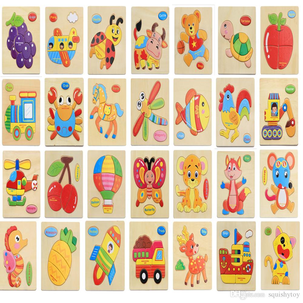 3D 나무 퍼즐 지그 소 퍼즐 장난감 어린이 나무는 어린이를위한 만화 동물 퍼즐 지능 어린이 조기 교육 장난감을 3D
