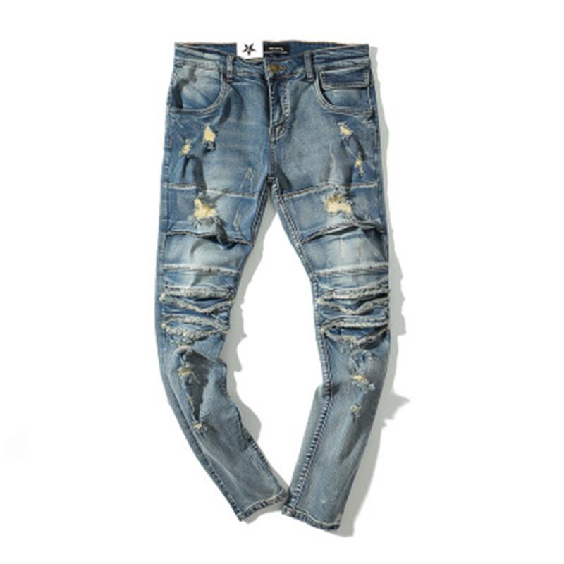 Fashion Men Long Jeans High Street Hole Jeans Washed Rock Feet Men's Fashion New Trend