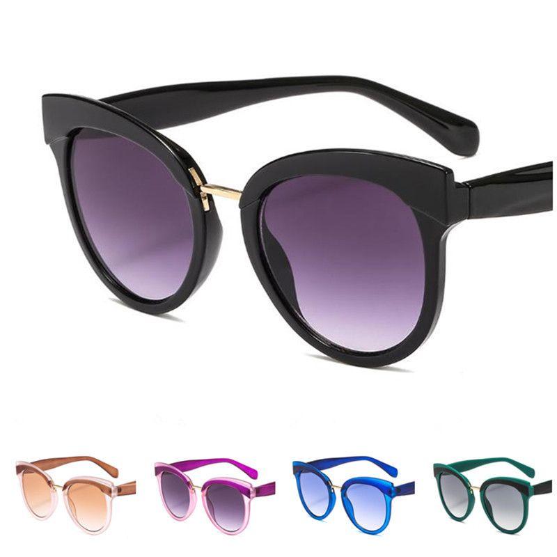 Moda Kadın Güneş Gözlüğü Colorblock Çerçeve Güneş Glasse Gözlük Anti-UV Gözlükler Kedi Göz Gözlükler Süs A ++