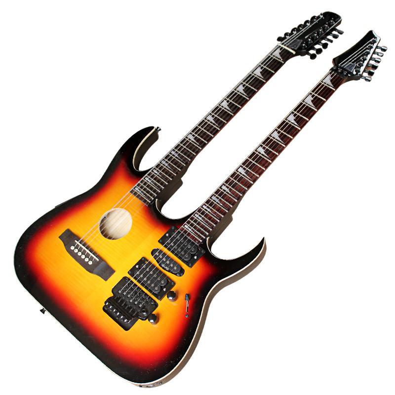 Pescoço dobro corpo semi-oco 6 + 12 cordas da guitarra elétrica com Scalloped Neck, Hardware Preto, Rosewood Fingerboard, pode ser personalizado