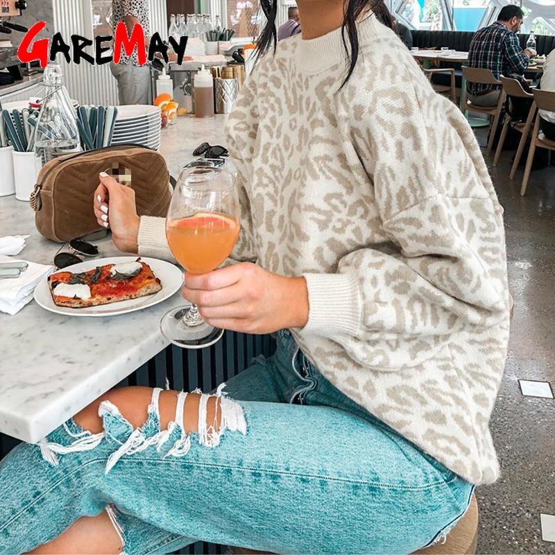 donne maglione a collo alto leopardo maglione lavorato a maglia l'inverno animal print pullover di spessore femminili magliette casual maglione oversize