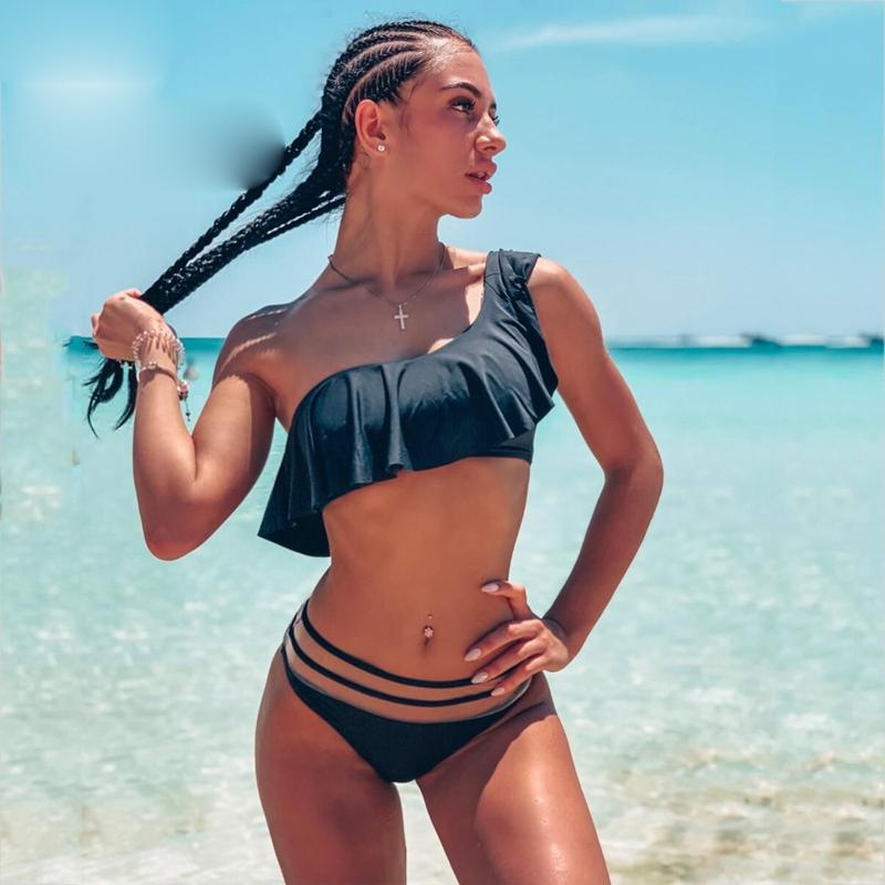 Bikini Mulheres 2019 New One Shoulder Sexy brasileira Lotus Swimsuit Praia Swimwear malha cintura Bikini Define Swim Suit