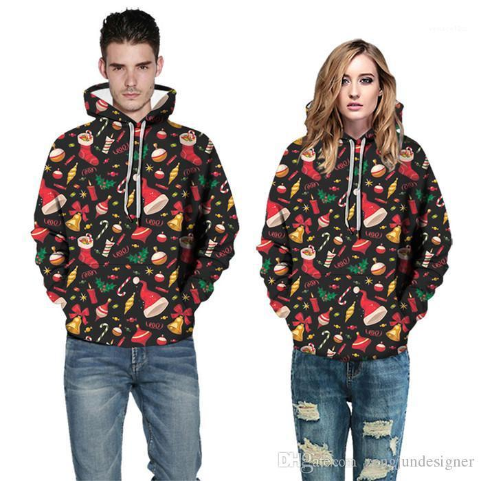 Couple Hoodies Mens Autumn Designer Long Sleeve Pullover Homme Clothing Fashion Style Casual Apparel Christmas 3D Print