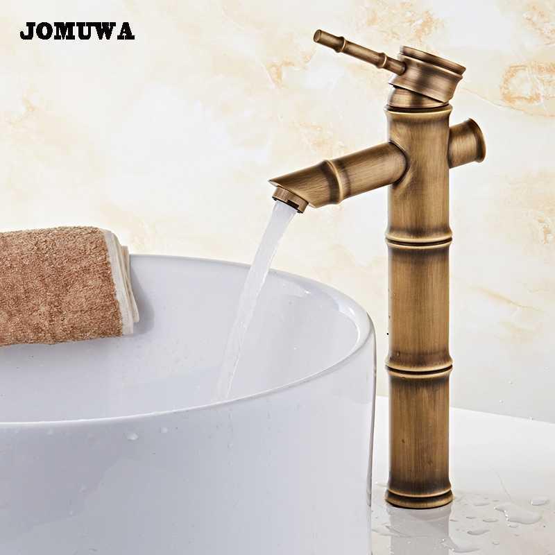 Forma de bambú Grifería de lavabo Grifos mezcladores Latón antiguo Acabado Mezcladoras de agua fría y caliente Grifo montado en la cuenca grifo torneira